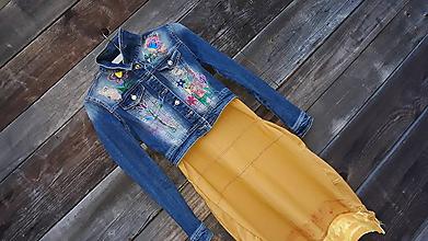 Iné oblečenie - Som riflová kveto- bundička - 10791215_