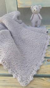 Textil - Detská deka + medvedík  -  BabyAlpaca sivo-fialková - 10789478_