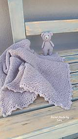 Textil - Detská deka + medvedík  -  BabyAlpaca sivo-fialková - 10789479_