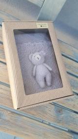 Textil - Detská deka + medvedík  -  BabyAlpaca sivo-fialková - 10789503_