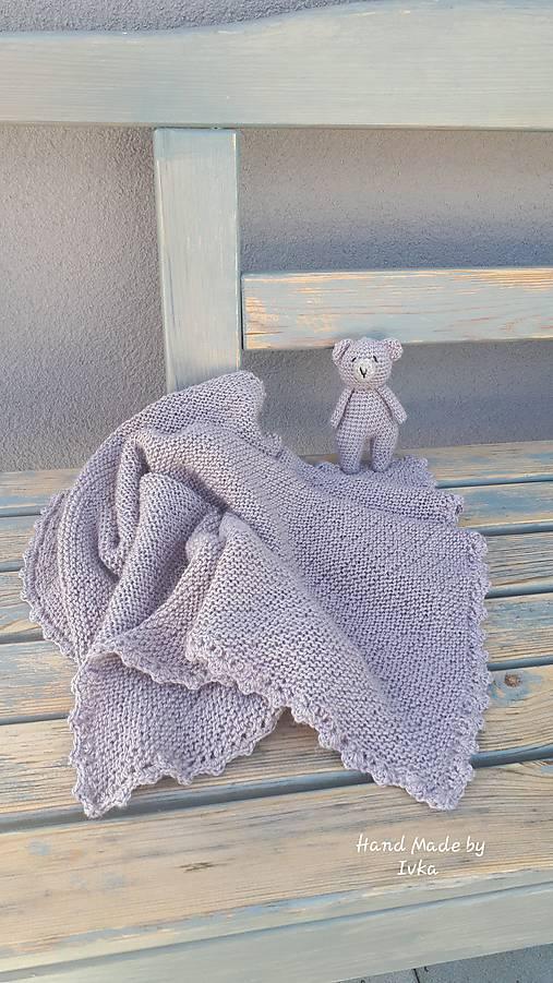 Detská deka + medvedík  -  BabyAlpaca sivo-fialková