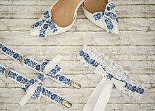 Iné doplnky - Folk klipy na topánky - modro biely vzor - 10790128_