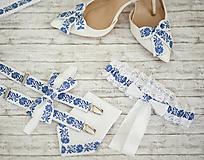 Doplnky - Pánska vreckovka bielo-modrá - 10790182_