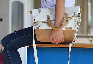 Veľké tašky - Veľká taška snappap + bavlna s pierkami - 10790699_