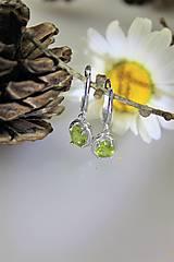 Náušnice - olivín náušnice - v striebre Ag925/1000 (certifikované) - 10790605_
