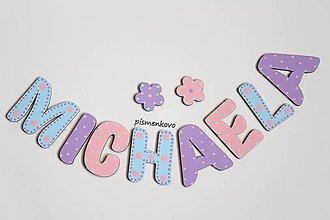Tabuľky - MICHAELA 6 cm písmenká ružovo fialovo modré - 10791167_