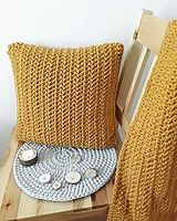 Úžitkový textil - Háčkovaný vankúš MUSTARD - 10789542_