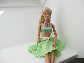 Sukne - Mini sukňa pre Barbie - kruhová (Zelená) - 10791230_