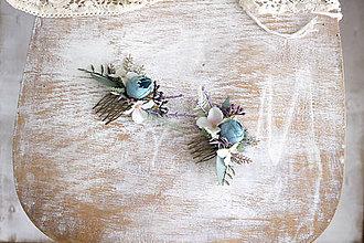 Ozdoby do vlasov - Kvetinový mini hrebienok ,,modrý,, - 10790562_
