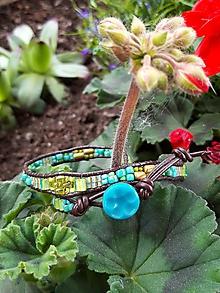 Náramky - Wrap náramok modro-zeleno-zlatý - 10790842_
