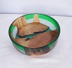 Nádoby - Miska platan+ dvojfarebná zelená živica - 10791869_