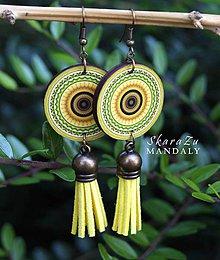 Náušnice - Mandala žltá - 10789702_