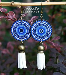 Náušnice - Mandala modrá - 10789738_