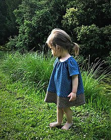 Detské oblečenie - letné šaty - modrá/hnedá - 10791732_