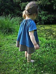 Detské oblečenie - letné šaty - modrá/hnedá - 10791739_
