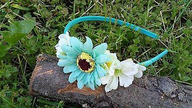 Ozdoby do vlasov - Kvetinova celenka - tyrkysova - 10789425_
