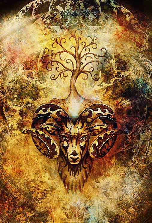 obraz mystického barana so stromom života.