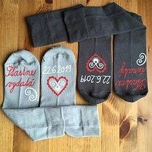 Obuv - Maľované ponožky pre novomanželov / k výročiu svadby (svetlé dámske+tmavé pánske) - 10789685_