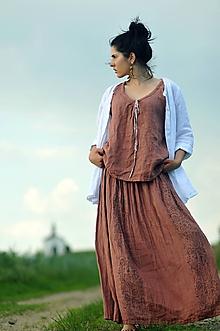 Sukne - Lněná maxi sukně s tiskem - světlá terakota - 10790789_