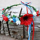 Ozdoby do vlasov - Venček s makom, ružičkami a nezábudkami - 10794166_