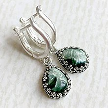 Náušnice - Filigree Natural Seraphinite Earrings AG925 / Strieborné náušnice so serafinitom - 10792580_