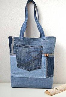 Veľké tašky - Riflová taška s vreckami - 10793203_