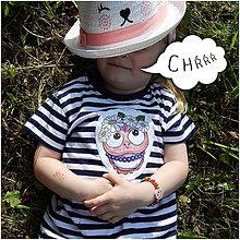 Detské oblečenie - Detské pásikavé tričko - OčiPuči sovička Margarétka - 10793459_