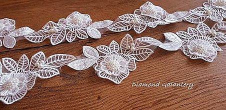 Galantéria - Krajka kvety s perličkami 62 mm - biela - cena za 10 centimetrov - 10792312_