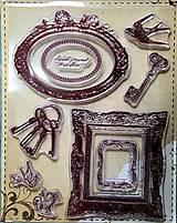 Silikónové pečiatky - rámčeky, kľúče, vtáci