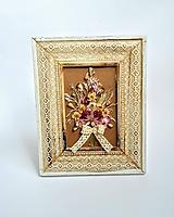 Dekorácie - Maľovaný rámik s kytičkou - 10793808_