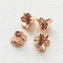 Komponenty - ružovým zlatom pozlátený kaplík Zvonček (Ag 970) - 10793756_