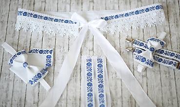 Doplnky - Veľký modrý folk set ona a on - výroba na mieru - 10792309_