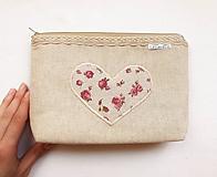 Taštičky - Taštička väčšia objemná - Romantické srdce - 10793057_