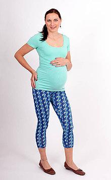 Tehotenské/Na dojčenie - Tehotenské 3/4 legíny - MODRÉ LISTKY - 10792056_
