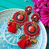Náušnice - Red&Emerald- sutaškové náušnice - 10792161_