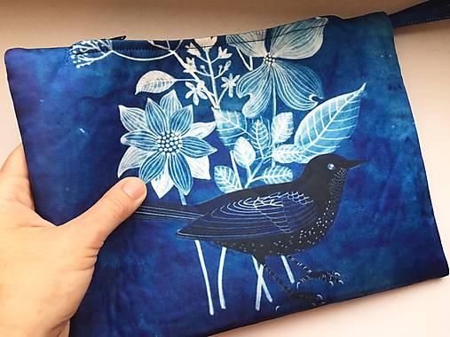 listová kabelka Modrý vtáčik