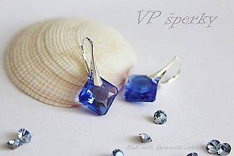 Náušnice - Zafírovo modré strieborné 925 náušnice Swarovski crystals - 10792488_
