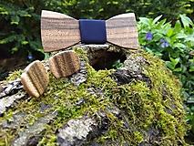 Doplnky - Pánsky drevený motýlik, manžetové gombíky a krabička - 10793421_