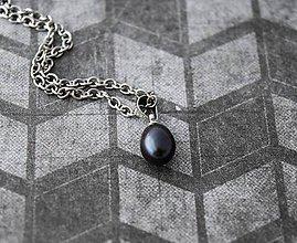 Náhrdelníky - Čierna perla - 10793719_