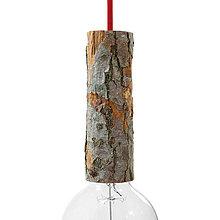 Komponenty - Drevená E27 objímka s káblovou svorkou, výška dreva 22 cm - 10792399_