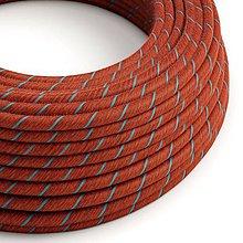 Iný materiál - Textilný kábel, bavlna, Vertigo – tehlový/svetlo modrý, 2 x 0.75mm, 1 meter - 10792417_