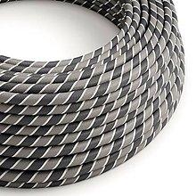 Iný materiál - Textilný kábel HD Vertigo – biela/šedá, 2 x 0.75mm, 1 meter - 10792421_