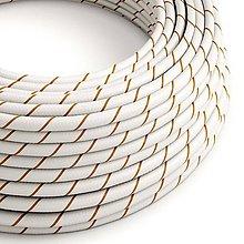 Iný materiál - Textilný kábel HD Vertigo – biela/hnedá, 2 x 0.75mm, 1 meter - 10792425_