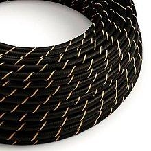 Iný materiál - Textilný kábel HD Vertigo – čierna/zlatá, 2 x 0.75mm, 1 meter - 10792430_