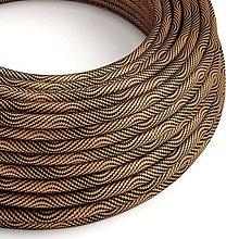 Iný materiál - Textilný kábel Optical Vertigo – čierna/medená, 2 x 0.75mm, 1 meter - 10792440_