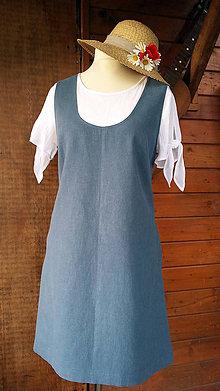 Sukne - Modrá ľanová šatová sukňa - 10794028_