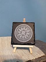 Biela kresba na čiernej bridlici - Na kameni maľované