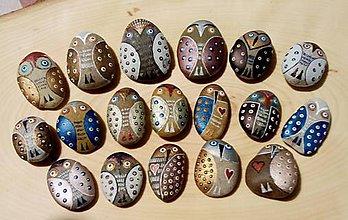 Drobnosti - Perleťové sovičky - Na kameni maľované - 10792084_