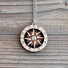 Náhrdelníky - Drevený Náhrdelník Kompas - 10792089_