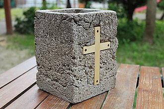 Nádoby - Kvetináč s krížom - 10794246_